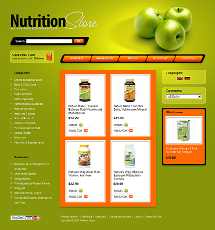 Nutrition Website Templates. nutrition store magento theme 33062 ...